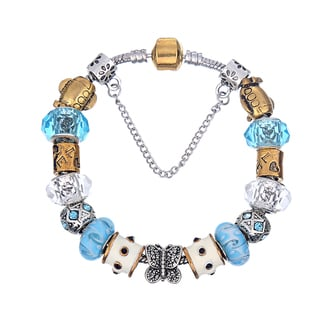 Pink Box Double Rhodium-plated Blue and Gold Bead European Charm Bracelet