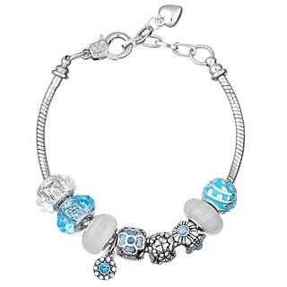 Pink Box Double Rhodium-plated Light Blue Bead European Charm Bracelet