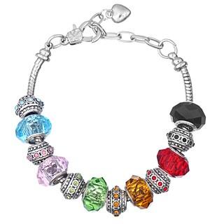 Pink Box Double Rhodium-plated Multicolored Bead European Charm Bracelet
