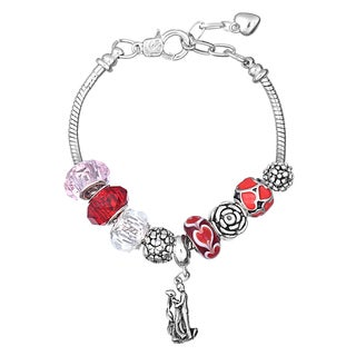 Pink Box Double Rhodium-plated Red and Pink Bead European Charm Bracelet