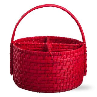 TAG RATTAN & BAMBOO 4 PART CADDY - Red