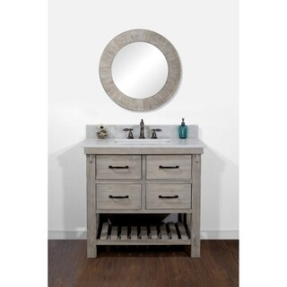 Rustic Style Quartz White Marble Top 36-inch Bathroom Vanity