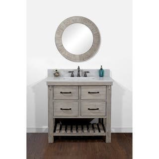 rustic style quartz white marble top 36 inch bathroom vanity - Bathroom Cabinets Sink