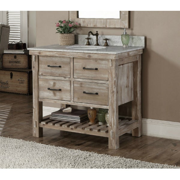 Marvelous Rustic Style Quartz White Marble Top 36 Inch Bathroom Vanity