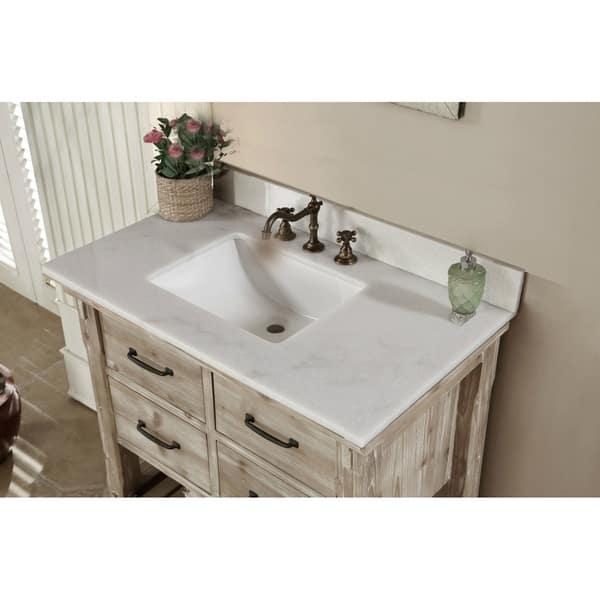 Rustic Style Quartz White Marble Top