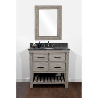 Rustic Style Matte Ash Grey Limestone Top 36-inch Bathroom Vanity