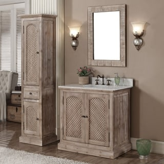 Rustic Style Carrara White Marble Top 36-inch Bathroom Vanity with Matching Wall Mirror and Linen Tower