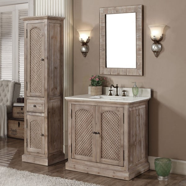 Rustic Style Quartz White Marble Top 36-inch Bathroom Vanity with Matching Wall Mirror and Linen Tower