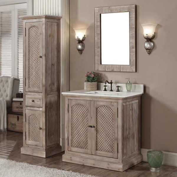 Shop Rustic Style Quartz White Marble Top 36 Inch Bathroom