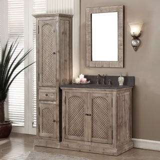 Rustic Style Matte Ash Grey Limestone Top 36-inch Bathroom Vanity with Matching Wall Mirror and Linen Tower