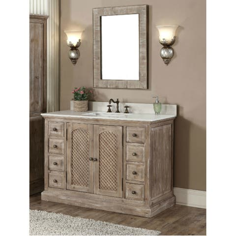 Rustic Style Carrara White Marble Top 48-inch Bathroom Vanity with Matching Wall Mirror