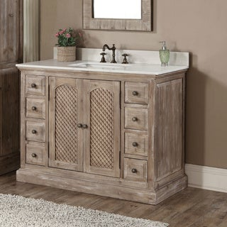 Wonderful Rustic Style Carrara White Marble Top 48 Inch Bathroom Vanity