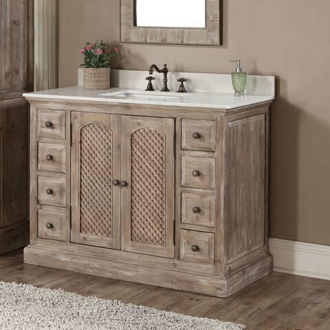 Rustic Style Carrara White Marble Top 48-inch Bathroom Vanity
