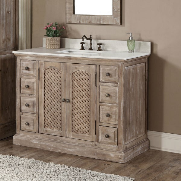 shop rustic style matte ash grey limestone top 48 inch bathroom vanity free shipping today. Black Bedroom Furniture Sets. Home Design Ideas