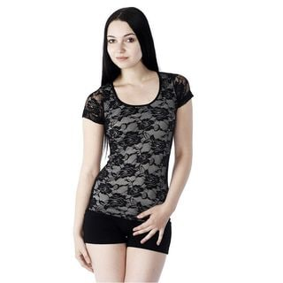 Soho Junior Full Floral Lace Short Sleeve Top