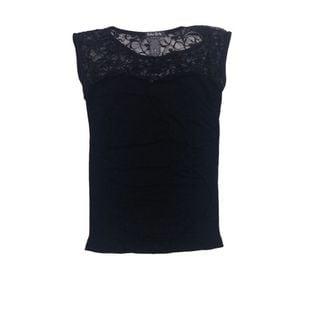 Soho Junior Upper Sheer Lace Back Sleeveless Top