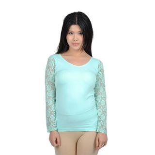 Soho Junior Sheer Floral Lace back Long Sleeve Top