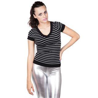 Soho Junior Short Sleeve Grey Striped V-Neck Top