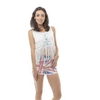 Soho Women's Ivory/ Mint Sleeveless Embroidered Tribal Fringed Crop Top