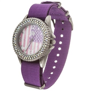 WallFlower Ladies Collection CZ Ring Case with Purple Nylon Strap Watch