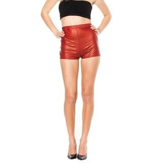 Soho Junior Red High Waisted Shiny Liquid Shorts