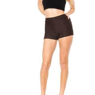 Soho Junior Brown Stretchy High Waisted Shorts
