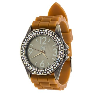WallFlower Ladies Collection CZ Ring Case with Brown Rubber Strap Watch