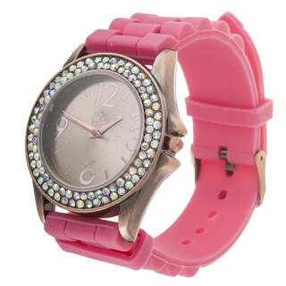 WallFlower Ladies Collection CZ Ring Case with Pink Rubber Strap Watch (Option: Pink)