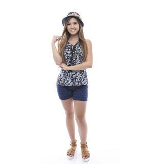 Soho Women's Blue Sleeveless Chiffon Back Tank Top