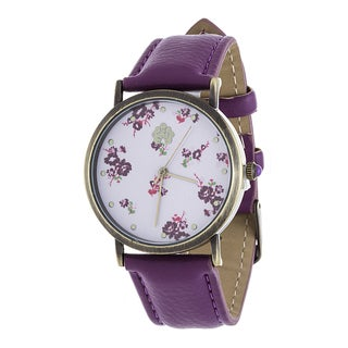 WallFlower Ladies Collection CZ Ring Case with Flower Design Dial and Purple Leather Strap Watch