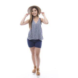 Soho Women's Blue Tribal Print Sleeveless Tank Top