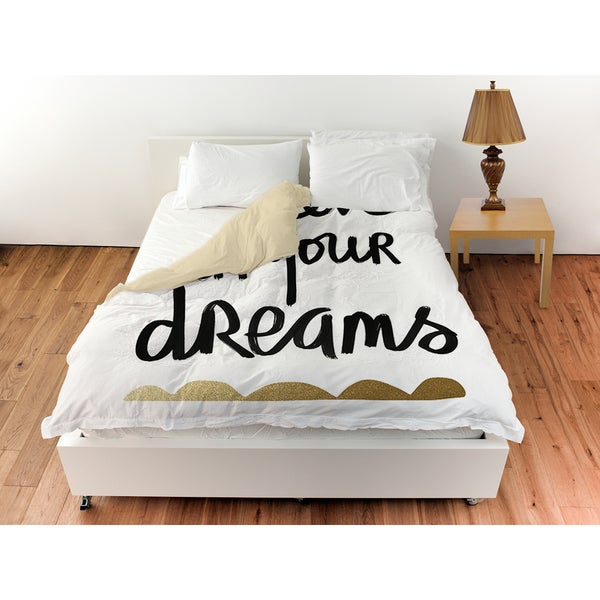 Thumbprintz Believe Twin Size Duvet Cover in White and Gold (As Is Item). Opens flyout.