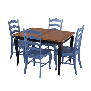 French Countryside black and oak 5-piece Dining Set by Home Styles