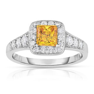 Solaura Collection 14k White Gold 1 1/4 ct TW Princess Cut Lab-Grown Diamond Halo Ring (Fancy Yellow, SI)