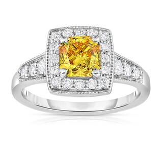 Solaura Collection 14k White Gold 1 1/2 ct TW Radiant Cut Lab-Grown Diamond Halo Ring (Fancy Yellow, SI)