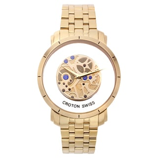 Croton Men's CN307546YLSK Stainless Steel Goldtone See Thru Dial Watch