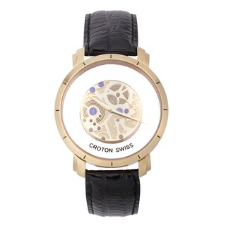 Croton Men's CN307546BSYL Stainless Steel Goldtone See Thru Dial Watch