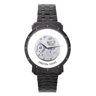 Croton Men's CN307546BKSK Stainless Steel Black See Thru Dial Watch