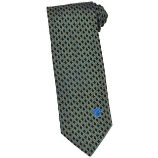 Versace 100-percent Italian Silk Blue/ Gold Loop Neck Tie