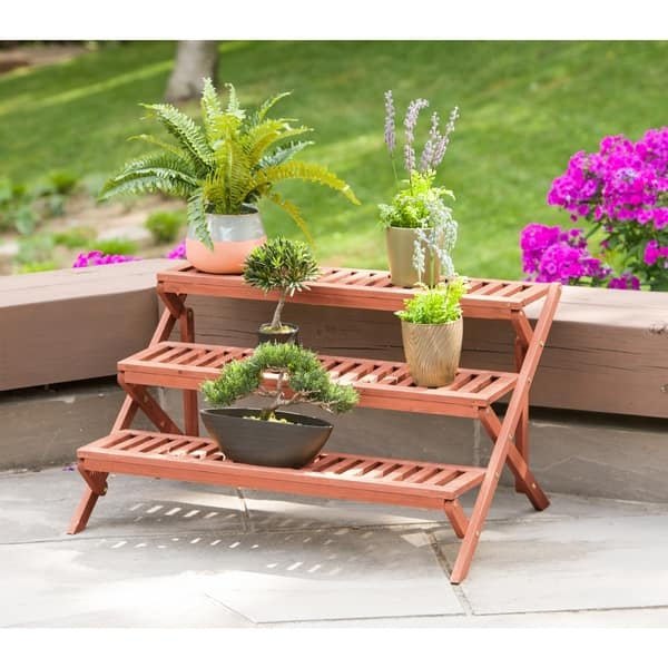 3 Tier Wooden Step Plant Stand