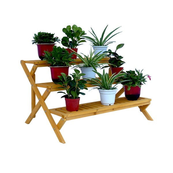 shop 3 tier wooden step plant stand free shipping today 10988806. Black Bedroom Furniture Sets. Home Design Ideas