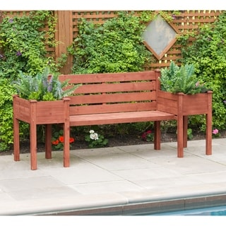 Wood Planter Bench