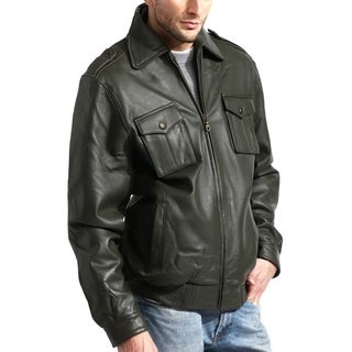 Men's Lambskin Olive Leather Bomber Jacket