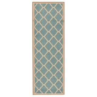 Ottomanson Prestige Collection Teal Blue Moroccan Trellis Design Runner Rug (2'7 x 9'10)