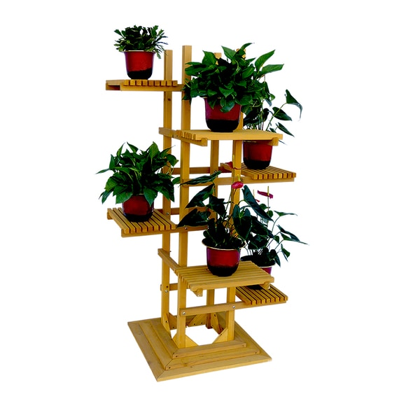 shop 6 tier wooden pedestal plant stand free shipping today 10988864. Black Bedroom Furniture Sets. Home Design Ideas