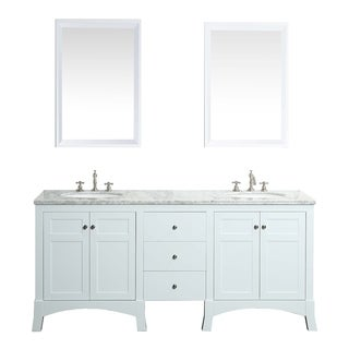 Eviva New York White Marble Carrera Counter-top and Sink White 72-inch Bathroom Vanity