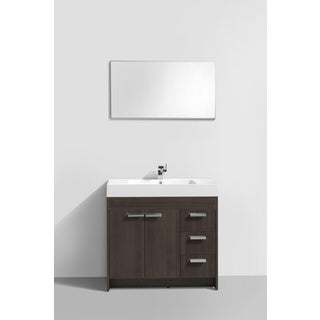 Eviva Lugano White Integrated Acrylic Sink Grey Oak Modern 36-inch Bathroom Vanity