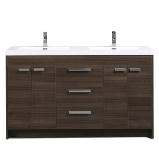 Eviva Lugano White Integrated Acrylic Double Sink Grey Oak Modern 60-inch Bathroom Vanity
