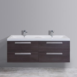 Eviva Largo Integrated White Acrylic Double Sink Grey Oak Modern 57-inch Wall-mount Bathroom Vanity