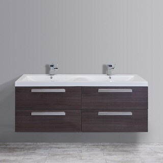 Eviva Surf Integrated White Acrylic Double Sink Grey Oak Modern 57-inch Wall-mount Bathroom Vanity